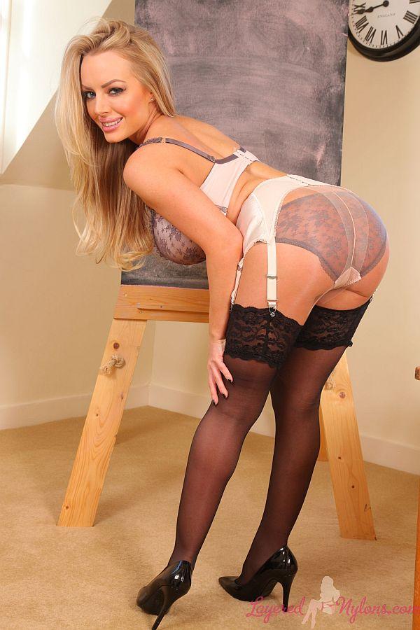 Hannah Claydon – Busty Blonde Teacher Teasing In Suspender Belt, Black Stockings and Pantyhose